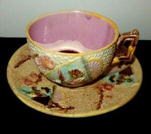 Cir 1870 Minton Majolica Mustache Cup & Saucer Hand Decorated Humming Bird /Fans