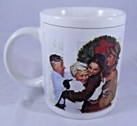 """Norman Rockwell """"Home For Christmas"""" Coffee Cup Decorative Mug Holidays Family"""