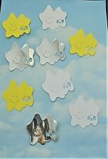 *SALE* Die Cut double stars x 9, yellow, white, silver, toppers, card making