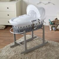 White Waffle Grey Wicker Moses Basket And Grey Rocking Stand