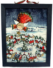 Christmas Blue Framed Picture Winter Village Ice Skating Sparkling Snow Angel