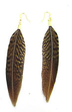 Brown Gold Pheasant Feather Earrings Drop Dangle Hook Vintage Boho Festival 893