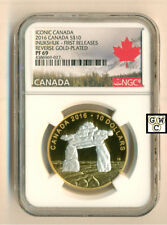 2016 $10 CANADA 1/2oz. SILVER INUKSHUK NGC-PF69 REVERSE GOLD PLATE PROOF (OOAK)
