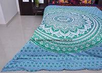 INDIAN ETHNIC OMBRE MANDALA QUEEN BED DUVET QUILT COVER BEDDING SET REVERSIBLE