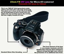 23mm F/6 UV lens for Micro 4/3 cameras! For ultraviolet photography!