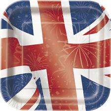 "Best of British Union Jack Square Paper Plates 9"" Pack of 8"