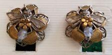 VINTAGE CARA STIMMEL CLIP EARRINGS - BEE ON A FLOWER