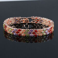 Three-layer Genuine Peridot Morganite Garnet Gems Rose Gold Charming Bracelets