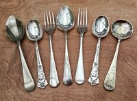 JOB LOT MIXED ANTIQUE SPOONS & FORKS x7 - SILVER PLATED ANTIQUE VINTAGE CUTLERY
