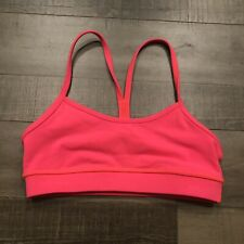 524800ad91ef7 Lululemon Flow Y Bra 2 Electric Coral Pink Racerback Sports Workout Yoga