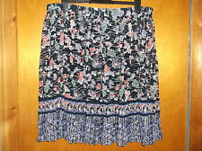 "M&S PerUna Fully Lined Floral Crinkle Pleat Chiffon Skirt UK20 L25"" BlueMix BNWT"