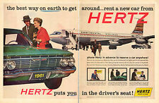 1960 vintage Ad for HERTZ Car Rentals Continental Airlines 61 Chevy auto 011516