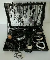 Black Silver Tones Costume Jewellery Necklaces Bracelet Bangles Job Lot Bundle