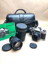 CHINON CS 35mm SLR FILM CAMERA WITH 2 Lenses 50mm,135mm+Bag+Manual#BB6