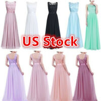US Womens Ladies Chiffon Bridesmaid Dress Wedding Formal Long Evening Prom Gown