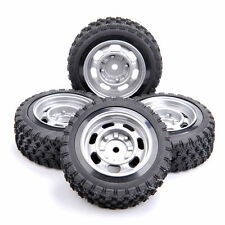 4X Rubber Tires&Wheels Rims Set 12mm Hex For HSP HPI 1:10 RC Rally Racing Car