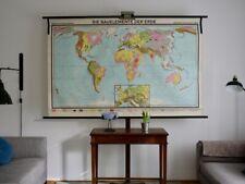 VINTAGE | 1965 | SCHULWANDKARTE WELTKARTE ELEMENTE | WORLD MAP | SCHOOL CHART