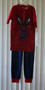 Spider- Man Boys Pajamas Short Sleeve Red/Navy Marvel New Size 10