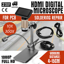 HDMI Digital Microscope For PCB Soldering Repair 10x-300x  Dual Lights 4cm-15cm