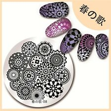 Harunouta-08 Nail Art Stamping Template Bloom Floral Flower Image Print Plate