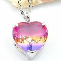 handgemachte Herz Regenbogen Farbe Turmalin Edelstein Halskette Anhänger Si B5L7
