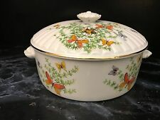 Shafford Ecstasy 1.5 QT COVERED CASSEROLE Butterflies China Serving Butterfly