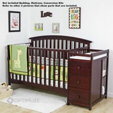 Cherry 5 In 1 Convertible Crib Side Changer Nursery Furniture Baby Toddler Bed