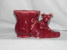 Vintage Shawnee Pottery Dog and Shoe Boot Reddish-Brown Ceramic Planter