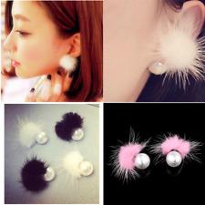 Charm Womens Earrings Fur Pearl Double Side Ear Stud Earrings Statement Jewelry