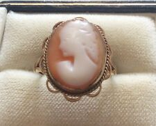 Lovely Ladies Vintage 9ct Gold Cameo Ring - Nice Sized Portrait Cameo - Size N