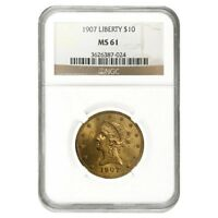 1907 $10 Liberty Head Eagle Gold Coin NGC MS 61