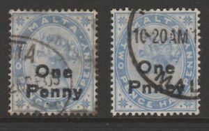 "Malta QV 1902 ERROR VARIETY 1d on 2½d dull blue ""PNNEY"" (R. 9/2) sg36b used"