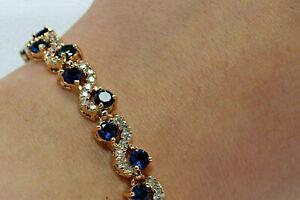 10 Ct Round Cut Sapphire & Diamond Design Tennis Bracelet 14K Yellow Gold Finish