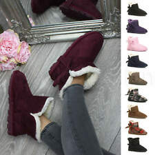WOMENS LADIES PULL ON BOW WINTER FUR LINED ANKLE BOOTS SLIPPERS BOOTIES SIZE