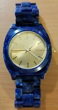 Nixon The Time Teller blue acetate analog watch New battery 11I