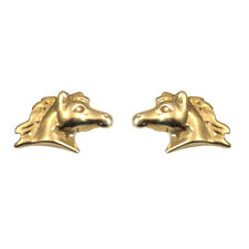 Horse Head Earrings 9ct Gold Studs Hand Crafted