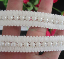 1yd Vintage Pearl Beaded Lace Edge Trim Wedding Ribbon Applique DIY Sewing Craft