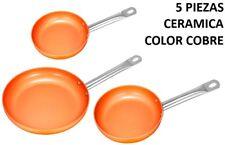 SET 3 SARTENES DE CERAMICA COLOR COBRE + 2 TAPAS CRISTAL SARTEN MARRON CALIDAD