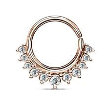 Rose Gold  Plated CZ Paved Half Circle Bendable Nose Septum/Ear Cartilage Hoop