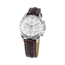 Jacques Lemans Woman's Liverpool 36mm White Dial Leather Chronograph Watch