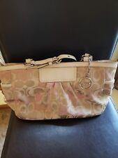 Coach F13762 Tote Bag Purse Beige/Pink