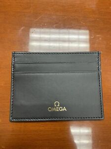 Omega genuine card case pass case Black Leather