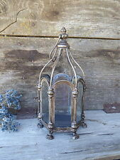 Ornate Intricate Old World Metal Candle Lantern Oil Rubbed Bronze Patina Silver