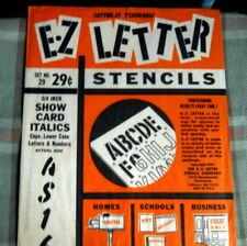 "E-Z Letter Stencil 3/4"" Show Card Italics * Vintage N O S #29"