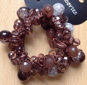 A Pretty Brown Crystal Beaded Hair Bobble/scrunchie