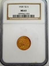 1928 MS61 NGC $2.50 Quarter Eagle Indian Head Gold Coin