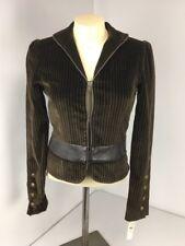 Alice + Olivia Chocolate Pinstripe Stretch Velvet Leather Crop Blazer Jacket XS