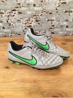 Nike Tiempo Rio II FG Firm Football Boots Bright White Green UK 10.5 EUR 45.5