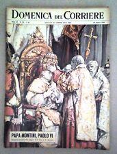 LA DOMENICA DEL CORRIERE-PAPA MONTINI,PAOLO VI-DEL 30 GIUGNO 1963