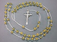 Rosary Necklace CLEAR & GOLD Rose Bead Silver Tone Detail Crucifix CLEAR Pray!
